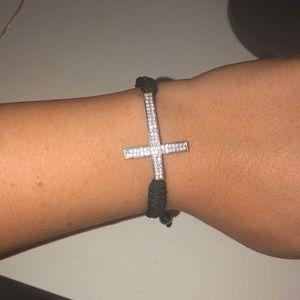 Faux diamond cross bracelet